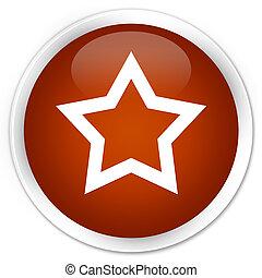 Star icon premium brown round button