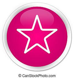 Star icon premium pink round button