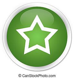 Star icon premium soft green round button