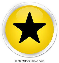 Star icon premium yellow round button