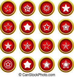 Star icon red circle set