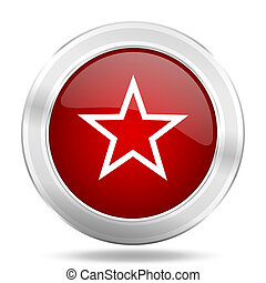 star icon, red round glossy metallic button, web and mobile app design illustration