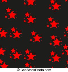 Star icon seamless pattern, isolated on black background. Vector illustration.