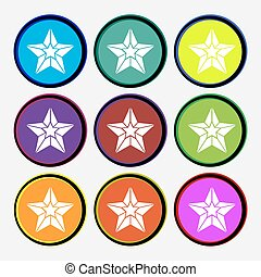 Star icon sign. Nine multi colored round buttons. Vector