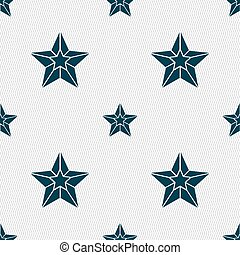 Star icon sign. Seamless pattern with geometric texture. Vector
