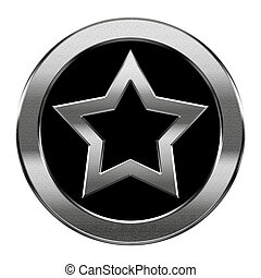 star icon silver, isolated on white background.