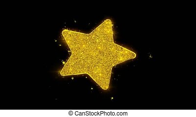 Star Icon Sparks Particles on Black Background.