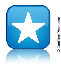 Star icon special cyan blue square button