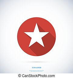 Star icon , Vector flat design with long shadow