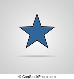 Star icon Vector with shadow