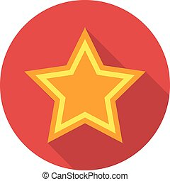 Star icon with shadow in a circle. Vector illustration