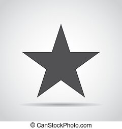 Star icon with shadow on a gray background. Vector illustration