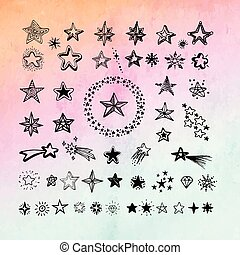 Star icons and pictogram. Collection black star shapes on gradient abstract background