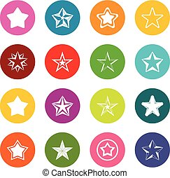 Star icons many colors set