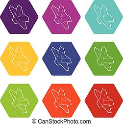 Star icons set 9 vector