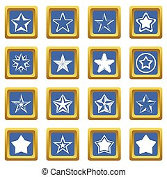 Star icons set blue