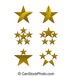 Star icons set, gold colored icons, vector illustrations