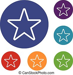 Star icons set in flat circle reb, blue and green color for...