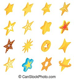 Star icons set, isometric 3d style