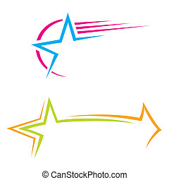 Set of colorful pictograms with stars