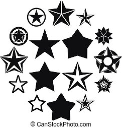 Star icons set, simple style