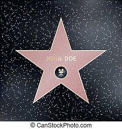 star., illustrazione, passeggiata, vettore, hollywood, fama