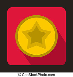 Star in a circle icon, flat style