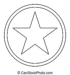 Star in circle   the black color icon .