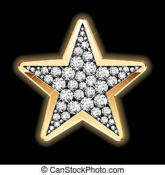 Star in diamonds - Detailed vector illustration of a star in...