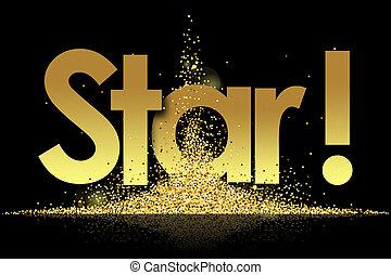Star in golden stars background