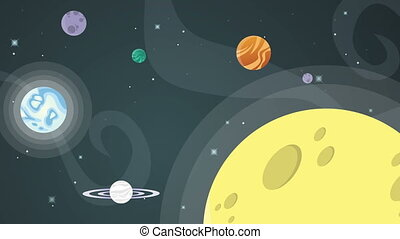 Star in space with planet rocket animation