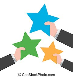 Star in the hand. Vector illustration