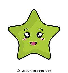 star kawaii cartoon - kawaii green cartoon cute star shape ...