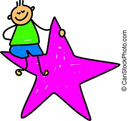 star kid - happy caucasian boy sitting on a pink star -...