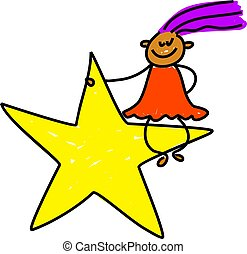 star kid - little ethnic girl sitting on a star - toddler...
