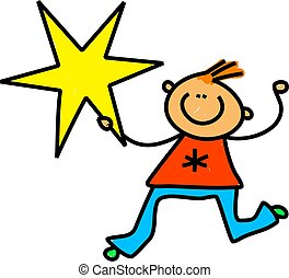 Star Kid - Cute cartoon whimsical illustration of a happy...