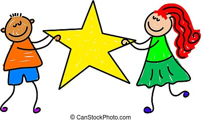 star kids - a little boy and girl holding a giant star...