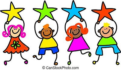 Whimsical drawing of a group of happy and diverse children holding up colourful star shapes.