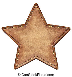 Star label - Star shape leather label, isolated