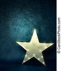 Star Light on Blue Textured Background