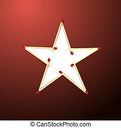 Star Made from Matches on Red Background