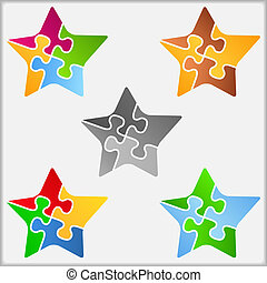 Star made of puzzle pieces