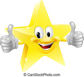 Star mascot - A happy cartoon star man giving a double...