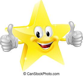 Star mascot - A happy cartoon star man giving a double ...