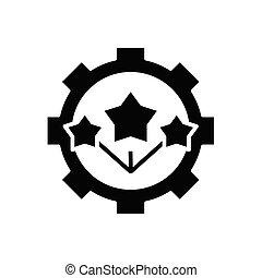Star mechanism black icon, concept illustration, vector flat symbol, glyph sign.