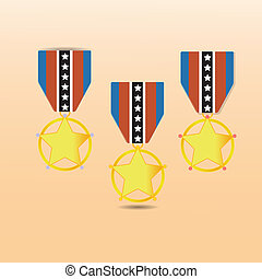Star medal award with neck strap