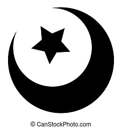 Star Moon Shape - Retro Christmas Star and Moon Vector...