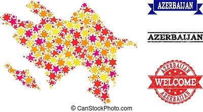 Star Mosaic Map of Azerbaijan and Grunge Stamps