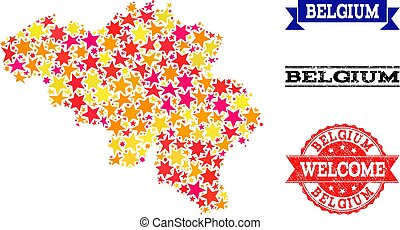 Star Mosaic Map of Belgium and Grunge Stamps