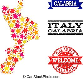 Star Mosaic Map of Calabria Region and Rubber Watermarks -...